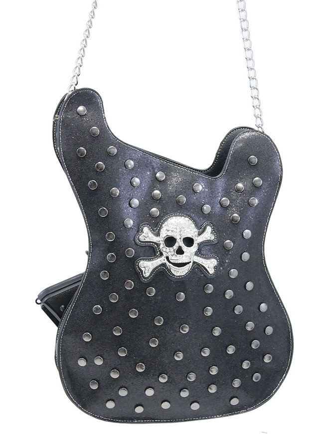Large Studded Skull and Crossbones Guitar CCW Purse #P111GUITAR