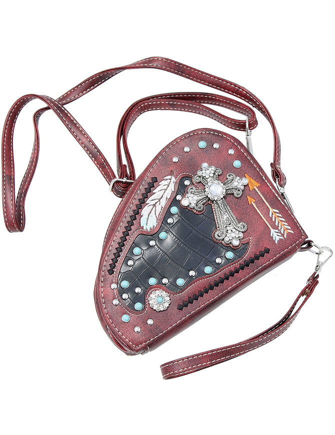 Small Cross Body Pistol Purse with Crystal Cross #P165GCR