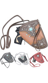 Small Cross Body Pistol Purse with Turquoise and Studs #P182GTS