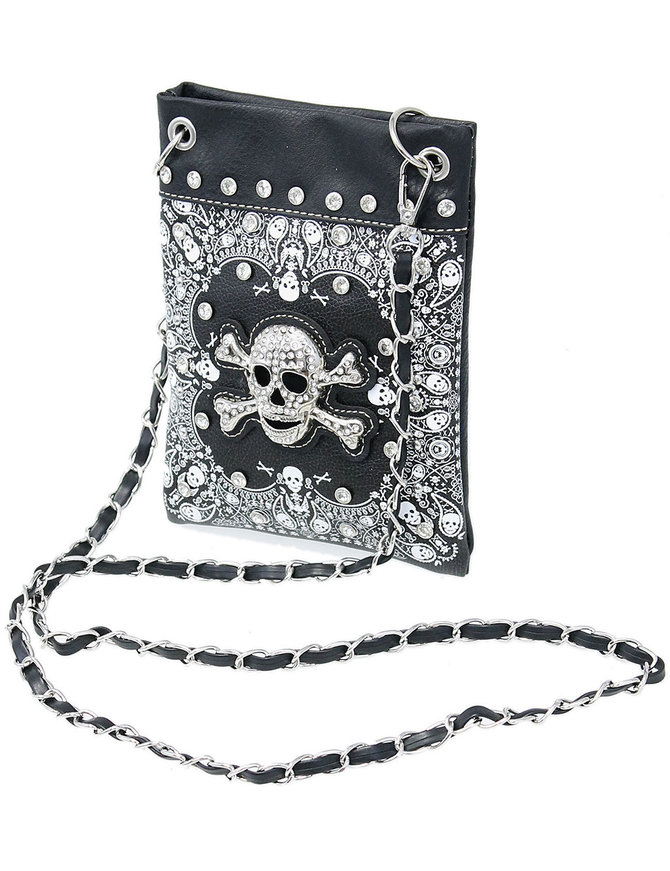 Small Crystal Skull Cross Body Purse with Chain Strap #P2030SKK