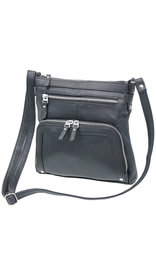 Large 10x10 Heavy Black Leather Cross Body Bag #P3018K