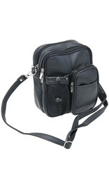 Large 8x10 Heavy Black Leather Utility Bag with Strap & Bottle Holder #P3085K