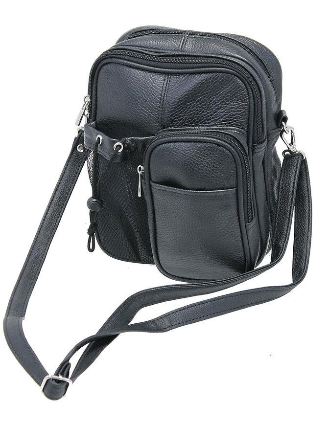 Large 8x10 Heavy Black Leather Utility Bag with Strap & Bottle Holder #P3085K