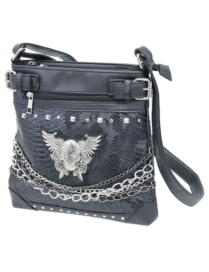 Winged Skull Multi-Chain Purse with CCW Pocket #P6041SKWCK