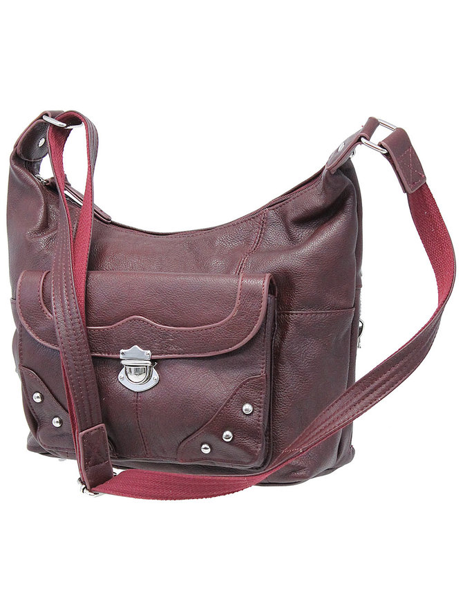9x11 Oxblood Heavy Leather CCW Purse with Studded Flap Pocket #P70053GSR