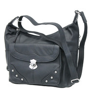 9x11 Black Heavy Leather CCW Purse with Studded Flap Pocket #P70050GSK
