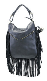 Black Fringed Buckle Strap Large CCW Handbag #P7021GFK