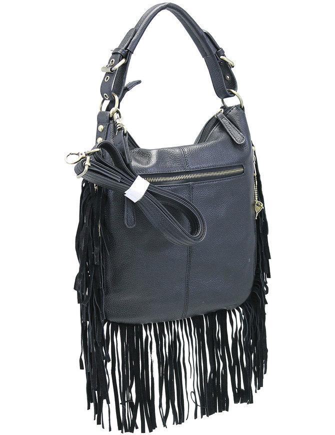 Black Fringed Buckle Strap Large CCW Handbag #P7021GFK