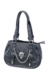 Black Studded Skull Purse with Chain and CCW Pocket #P9029SK