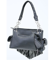 Black Fringed Crystal Skull Studded CCW Purse #P9393FSK