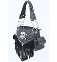 Black Fringed Crystal Skull Studded CCW Purse #P9393FSK