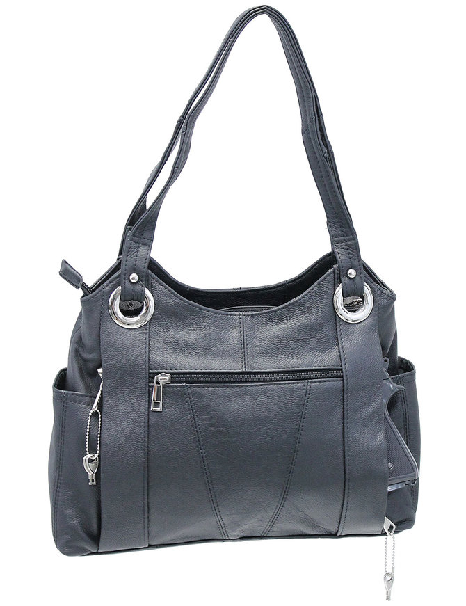 10x13 Black Heavy Leather CCW Purse with Large Chrome Rings #P70080GK