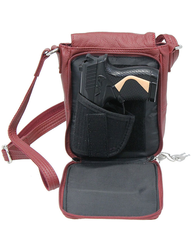 6x8 Oxblood Small Heavy Leather CCW Purse with Magnetic Flap #P70183GR