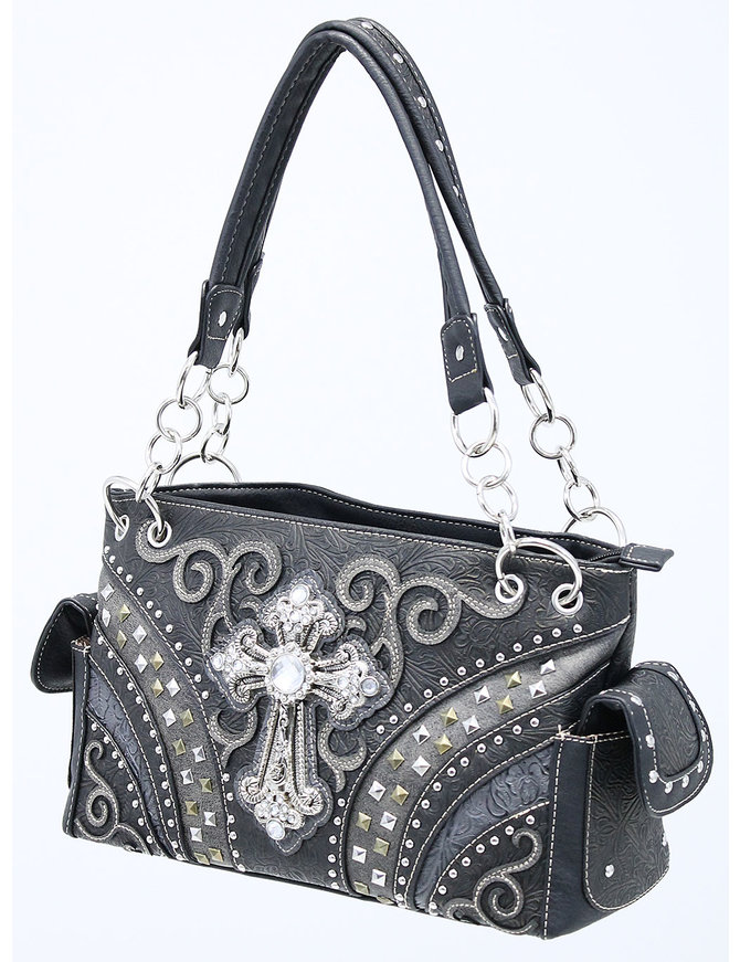 Crystal Cross Studded Multi-Ring CCW Purse #P939168CR