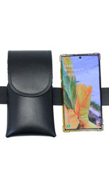 Black Leather Cell Phone Belt Pouch #CC520K