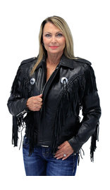 Women's Long Fringed Motorcycle Jacket  - SPECIAL #L400FBLSK (XS-M)