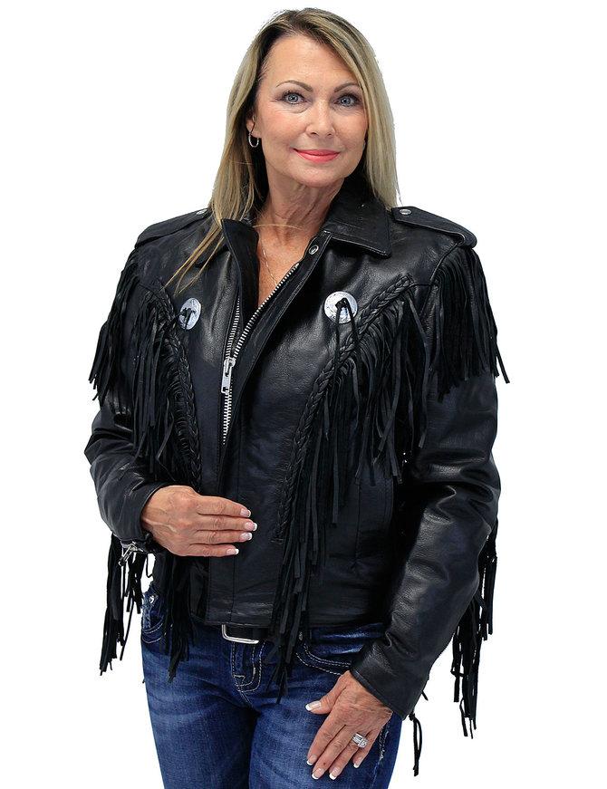 Women's Long Fringed Motorcycle Jacket  - SPECIAL #L400FBLSK
