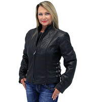 Quad Buckle Women's Scooter Jacket w/Gray Panels #L2593BUZK