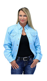Women's Light Blue Leather Shirt #LS86223U (XS-3X)