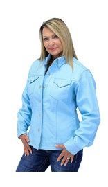 Women's Light Blue Leather Shirt #LS86223U (XS-3X)