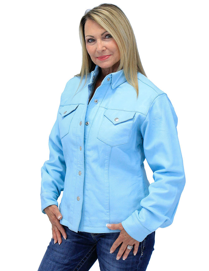 Women's Light Blue Leather Shirt #LS86223U