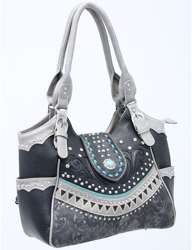 Large V Turquoise Multi-Buckle CCW Purse #P988213TS