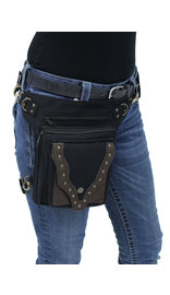 Black/Brown Studded Heavy Canvas Thigh Bag #TBC701631K