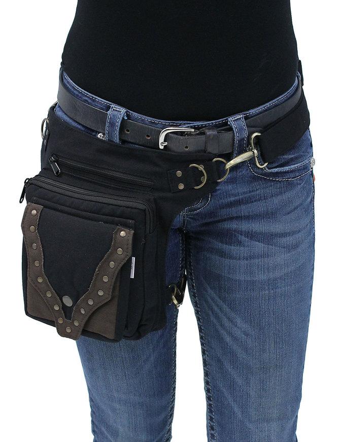 Black/Brown Studded Heavy Canvas Thigh Bag #TBC701631K