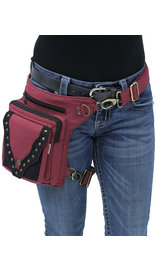 Burgundy/Black Studded Heavy Cotton Thigh Bag #TBC701632R