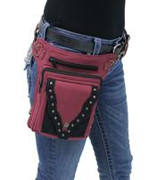 Burgundy/Black Studded Heavy Cotton Thigh Bag #TBC701632R