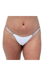 Jamin Leather Snap Away White Leather Thong with Crystal Sides #UGTB201WCRW