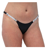 Jamin Leather Snap Away Black Leather Thong with White Crystal Sides #UGTB203WCRK