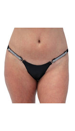 Jamin Leather Snap Away Black Leather Thong with Crystal Sides #UGTB204KCRK