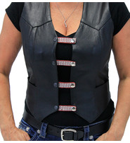 Jamin Leather Crystals on Red Leather Vest Extenders - Set of 4 #VC20253CRR