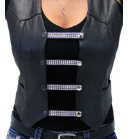 """Jamin Leather 4"""" Long Crystals on Purple Leather Vest Extenders - Set of 4 #VC20405CRPU"""