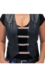 "Jamin Leather 4"" Long Crystals on Red Leather Vest Extenders - Set of 4 #VC20403CRR"