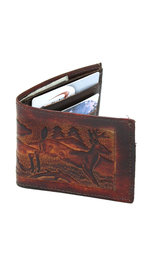 Extra Durable Vintage Brown Leather Wallet with Deer Design #WBA330117N