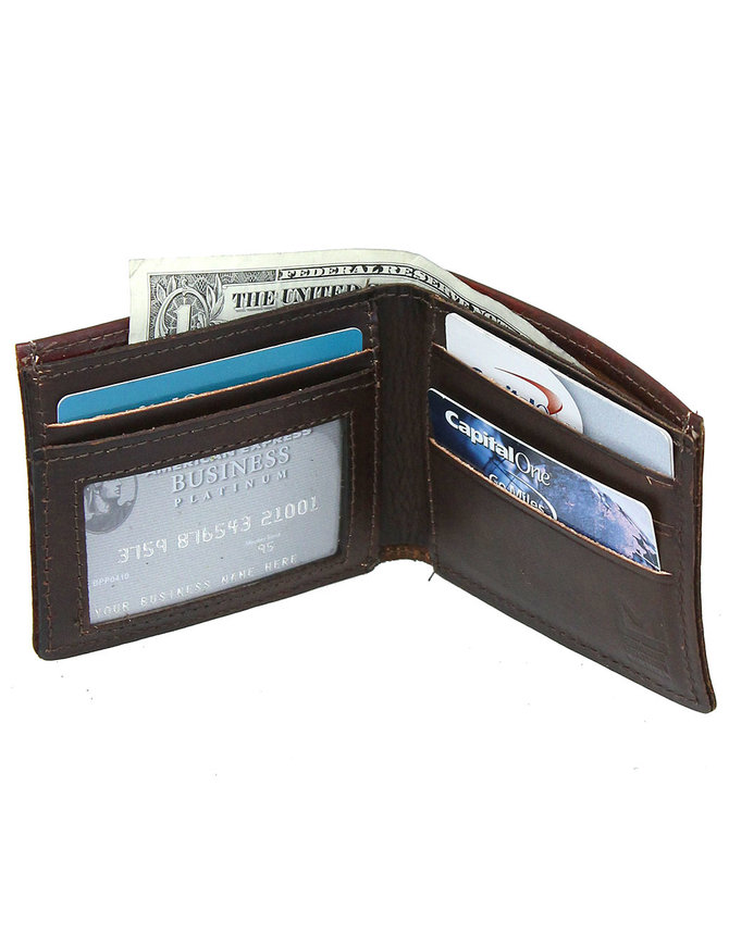 Extra Durable Vintage Brown Leather Wallet with Deer Design #WBA330117N