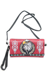 Embroidered Eagle Head Clutch Wallet with Strap #WL2066221EH