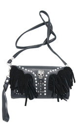 Fringed Skull Studded Clutch Wallet with Strap #WL2066214FSK