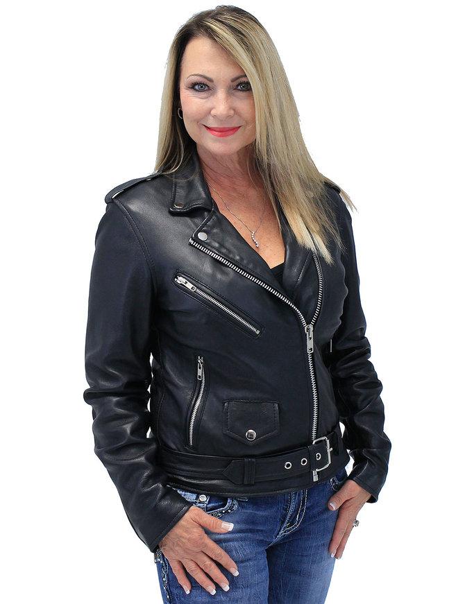 Unik Women's Soft Lambskin Leather Motorcycle Jacket with Belt #L6832MCK