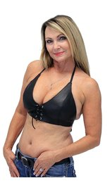 Jamin Leather Black Lamb Leather Bikini Halter Top #LH3030L