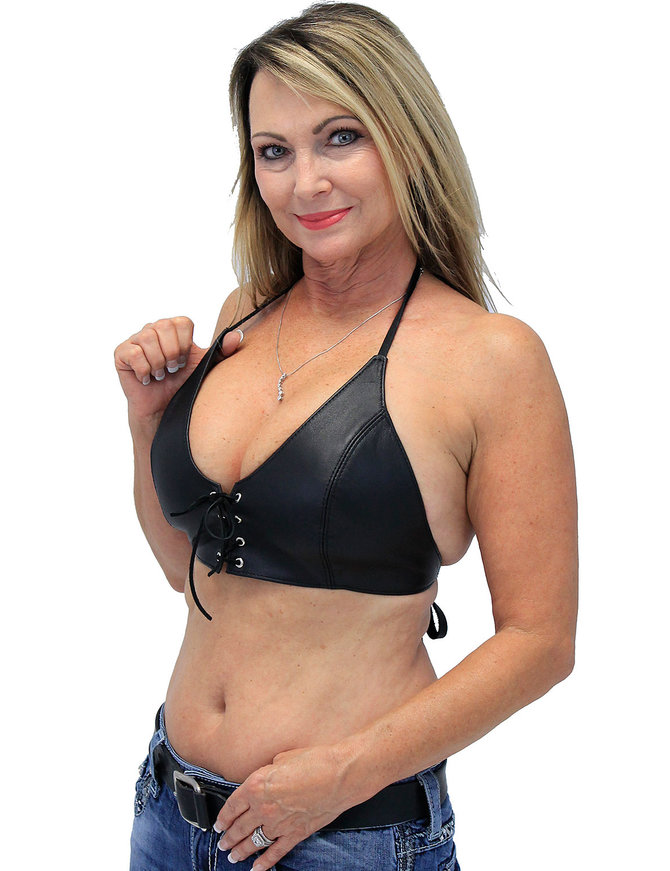 Jamin Leather Black Lamb Leather Bikini Halter Top #LH3030L