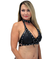 Jamin Leather Open Leather Studded Harness Halter w/D-Ring Collar #LH14118RK