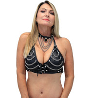 Jamin Leather Chain Leather Strap Halter w/Chain Collar #LH14119CCK