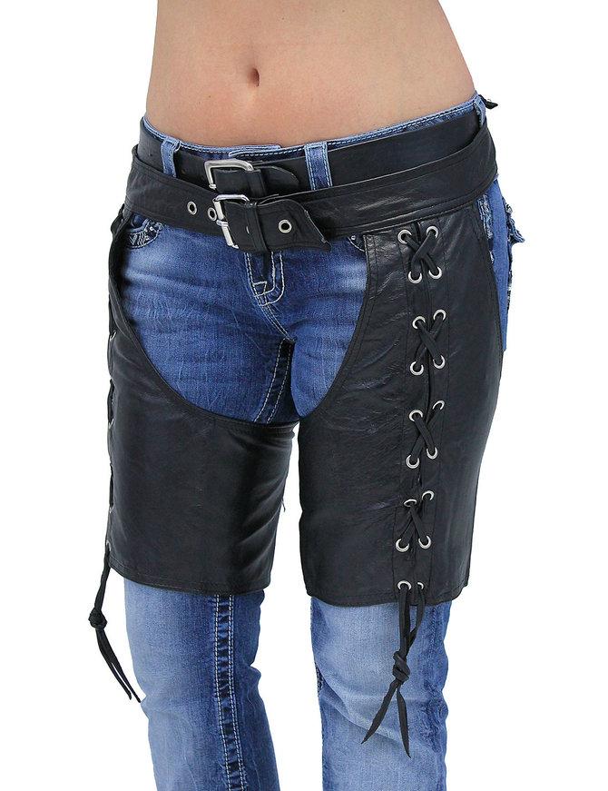 Side Lace Leather Half Chaps #C3231LLK (XXS-M)
