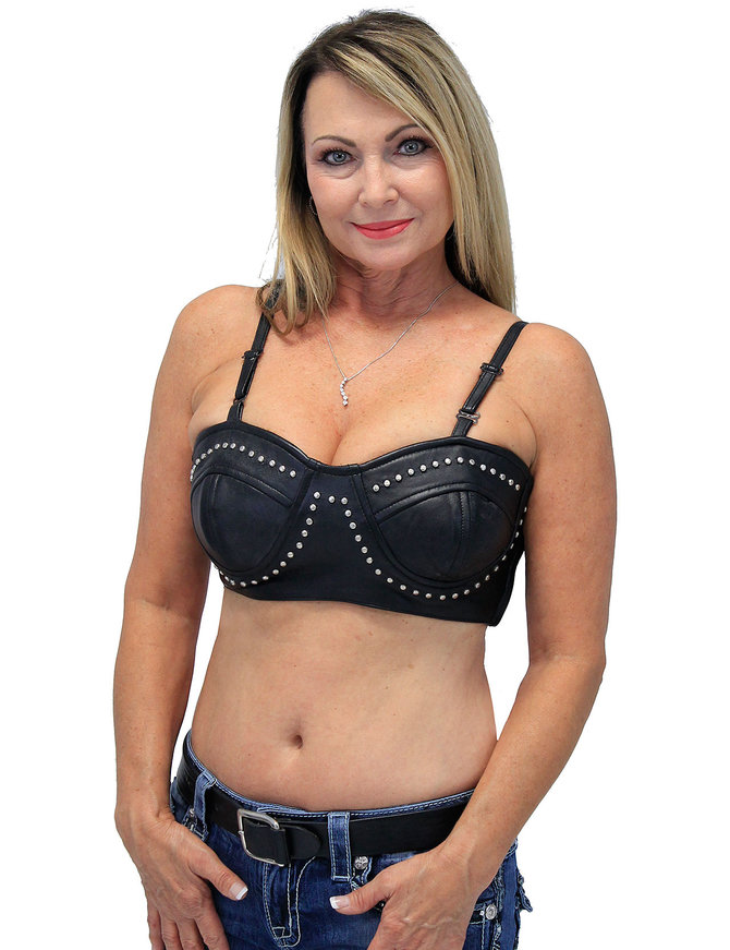 Leather Studded Bra #LH528STUD (S-XL)