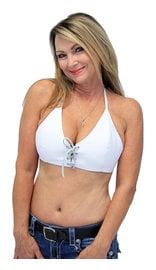 Jamin Leather White Lambskin Leather Bikini Halter Top #LH3033LW