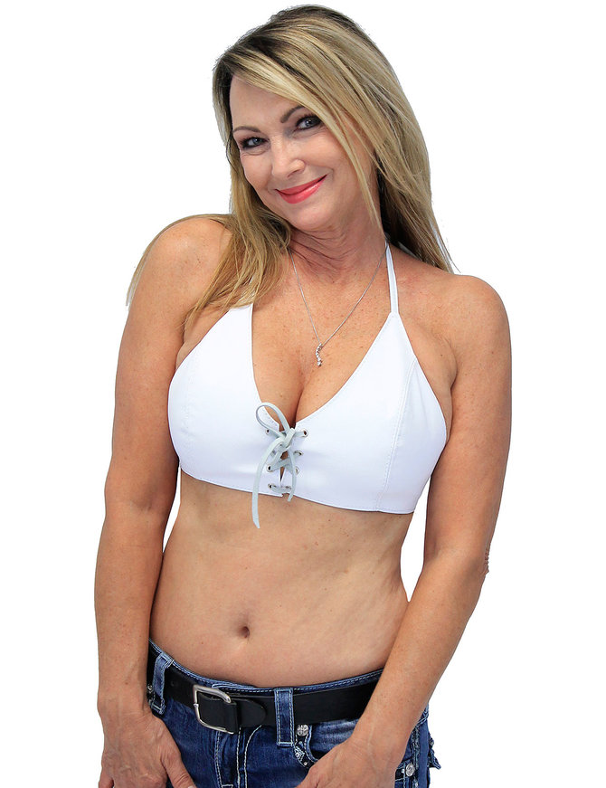 Jamin Leather White Lambskin Leather Bikini Halter Top #LH3033LW