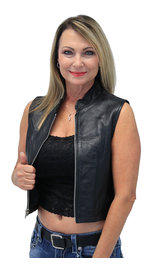 Lambskin Leather Zip Up Crop Top Club Vest #VL3015CROP (XS-2X)